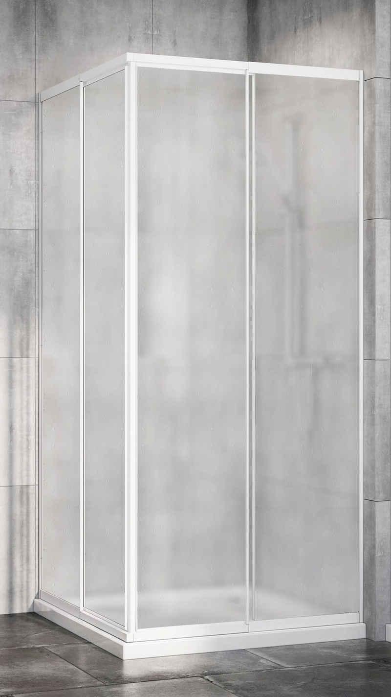 Red Shark Eckdusche »Multi Duschkabine-Eckeinstieg«, Acrylglas, variabler Verstellbereich 80 - 90cm, weiß