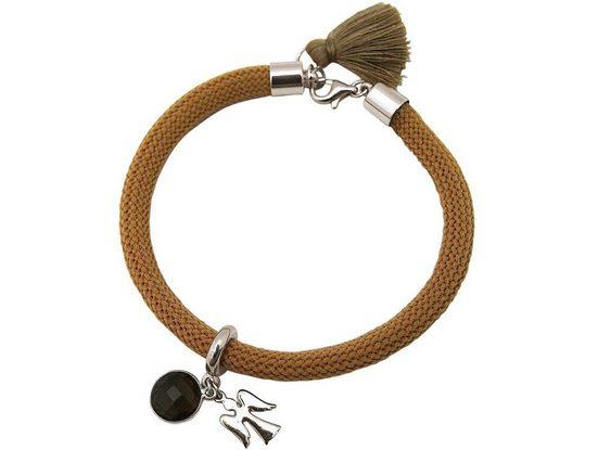 Gemshine Charm-Armband »Gemshine - Damen - Armband - 925 Silber - Edelstein - Rauchquarz - Engel - Braun«, Made in Germany