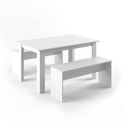 Vicco Essgruppe »Tischgruppe Sitzgruppe Holztisch Esstisch Holz Tisch Weiß«