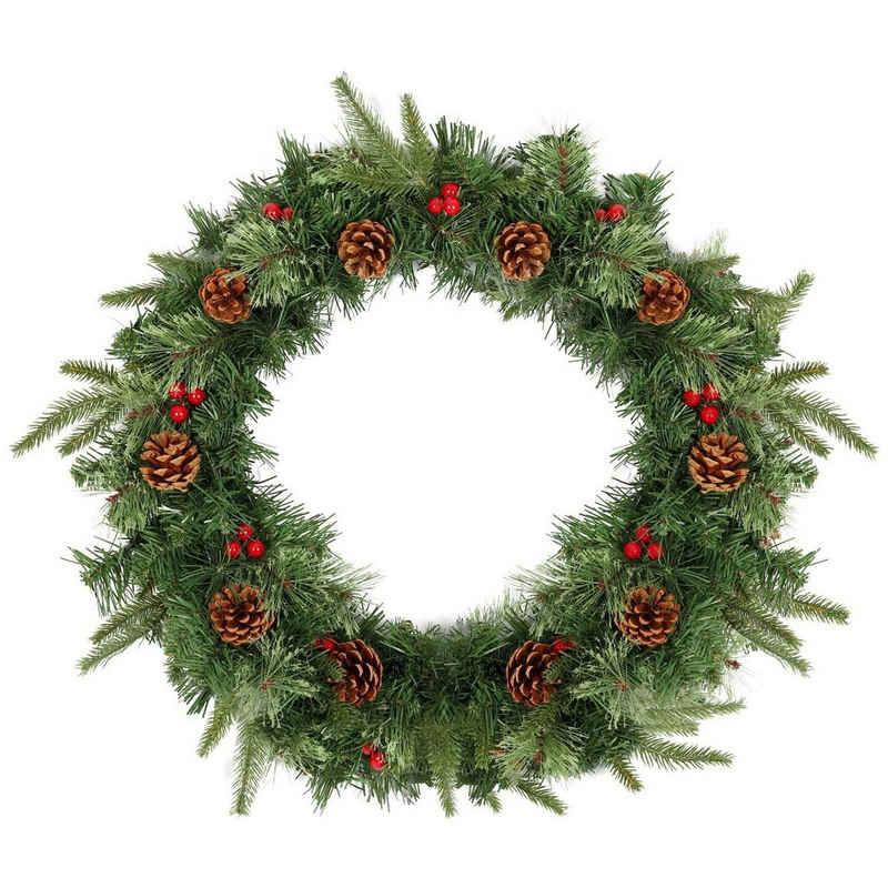 Kunstgirlande »Weihnachtskranz - 60cm - Künstlicher Kranz Weihnachten - Türkranz - Wandkranz - Künstliche Tannenzapfen - Weihnachtsschmuck«, Salcar, Künstliche Weihnachtsdeko mit roten Beeren - Grün