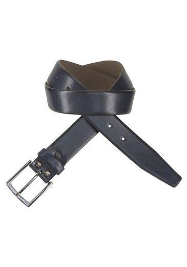 J.Jayz Ledergürtel mit geschwärzter glänzender Schließe, Leicht bombiert, Kanten gefärbt