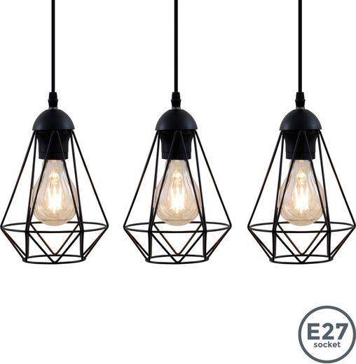 B.K.Licht LED Pendelleuchte, LED Hängelampe schwarz Metall Draht Vintage Retroleuchte Industriell E27
