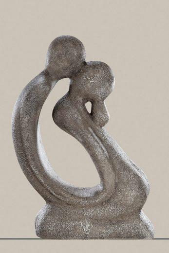 GILDE Dekofigur »Skulptur Francis Paar Der Kuss kniend, grau« (1 Stück), Dekoobjekt, Höhe 42 cm, handgefertigt, aus Keramik, Wohnzimmer