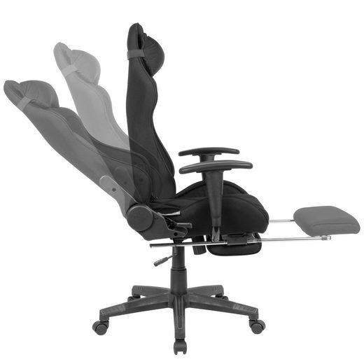 Amstyle Gaming-Stuhl »SPM1.417« Gaming-Schreibtischstuhl Bezug Stoff Schwarz Drehstuhl bis 120 kg Büro-Arbeitsstuhl mit hoher Rückenlehne & ausziehbarer Fußstütze