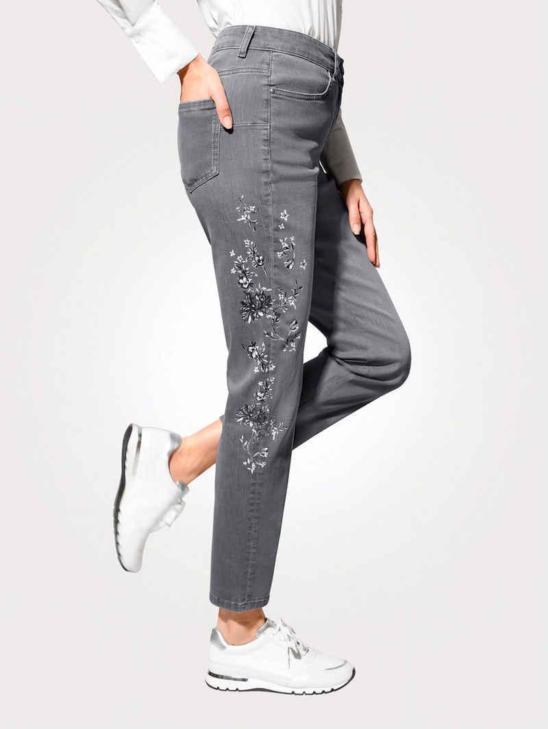Mona Comfort-fit-Jeans mit floralem Druckmotiv