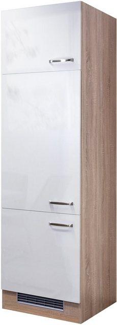 Flex-Well Exclusiv Geräteumbauschrank Valero 60 cm Hochglanz Weiß-Sonoma Eiche