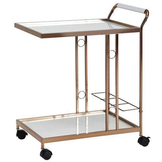 Wohnling Servierwagen »WL6.008«, Design Servierwagen Gold 67x80x45 cm Mobiler Beistelltisch Speisewagen mit Glasplatte Küchenwagen Milchglas Teewagen Mini Bar auf Rollen