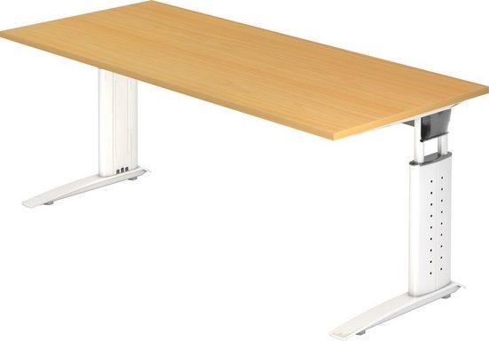 bümö Schreibtisch »OM-US19-W«, höhenverstellbar - Rechteck: 180x80 cm - Gestell: Weiß, Dekor: Buche