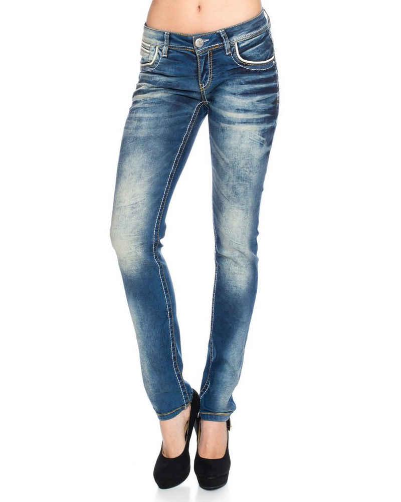 Cipo & Baxx Regular-fit-Jeans »Damen Jeans Hose mit dicken Nähten« Jeanshose mit weißen und orangenen dicken Nähten, Hoher Tragekomfort dank Elasthanateil