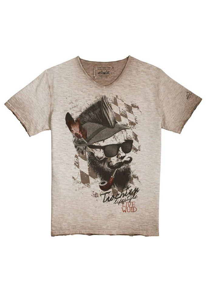 Herren Hangowear Trachtenshirt im Used-Look weiß | 04251363622910