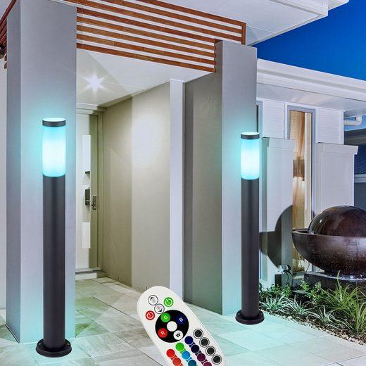 etc-shop LED Außen-Stehlampe, 2er Set Außen Steh Leuchte ANTHRAZIT Fernbedienung Garten Außen lampe DIMMBAR im Set inkl. RGB LED Leuchtmittel