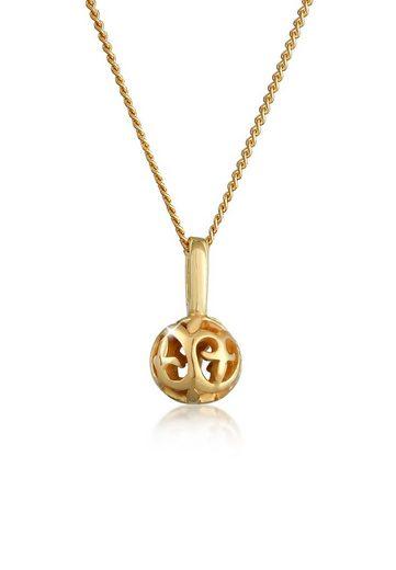 Elli Collierkettchen »Ornament Kugel Romantisch Edel 585 Gelbgold«