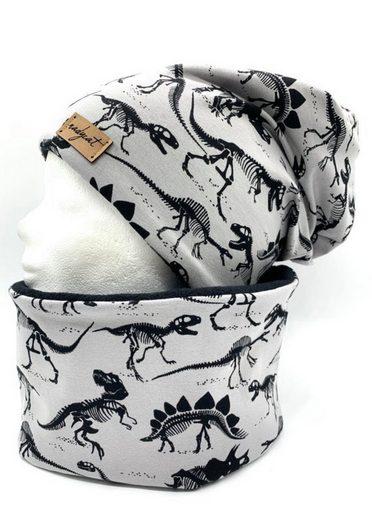 nadycat Mütze & Schal »DINOSAURIER grau« (2-tlg., Beanie & Loop) handgefertigt aus der Lausitz