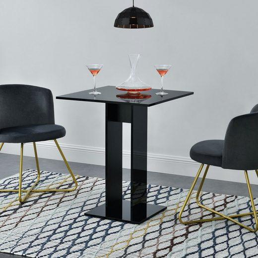 en.casa Küchentisch, »Lindesnes« Säulentisch quadratisch 65x65x78cm schwarz hochglanz