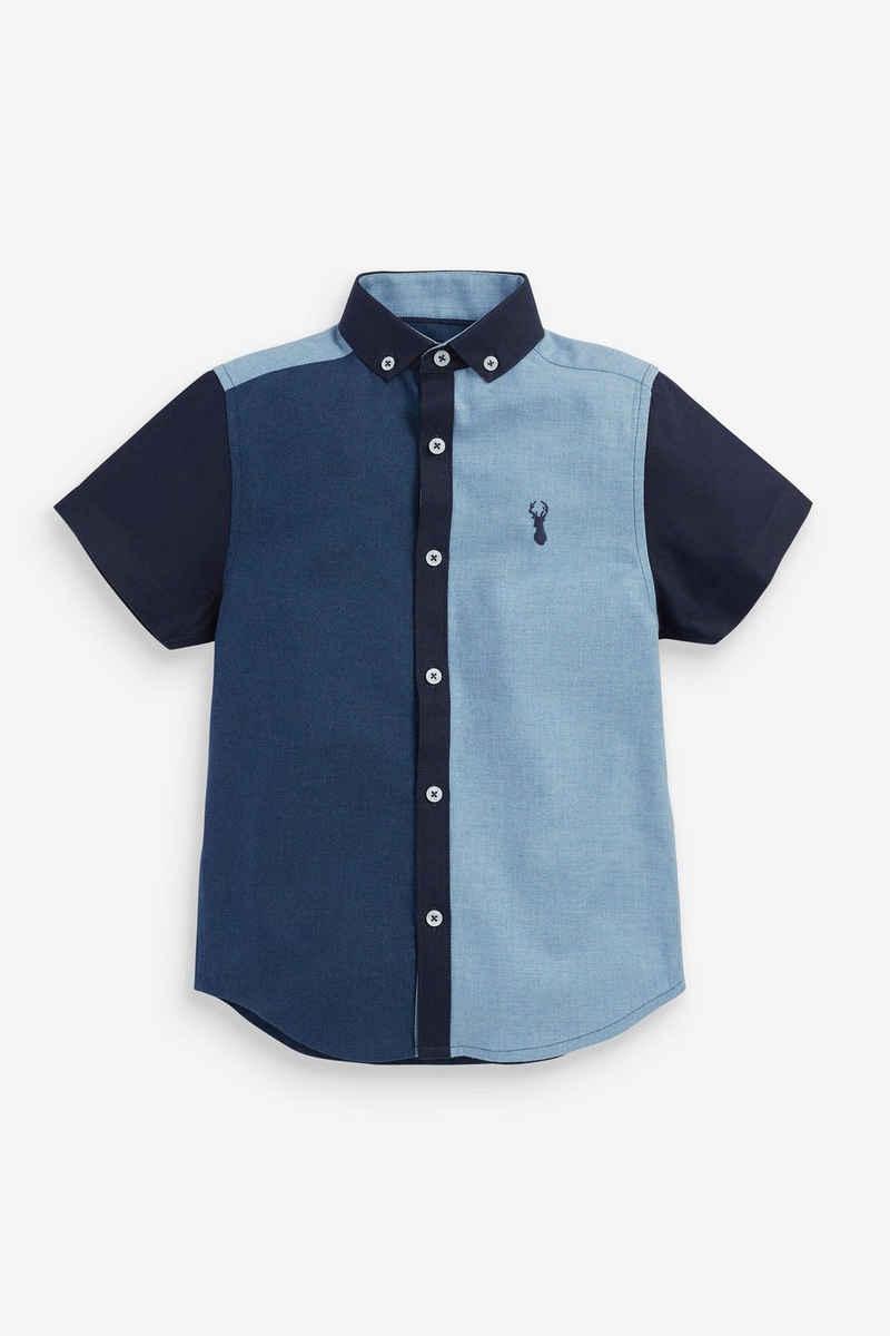 Next Kurzarmhemd »Kurzärmeliges Hemd in Colourblock-Optik« (1-tlg)
