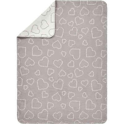 Alvi® Bett »Baumwolldecke Hearts grey«