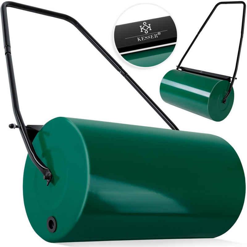 KESSER Gartenhacke, Rasenwalze Handwalze Rasen 60cm 48L Füllvolumen Metall mit Schmutzabweiser Rasenroller Gartenwalze Ackerwalze befüllbar mit Wasser/Sand 60kg