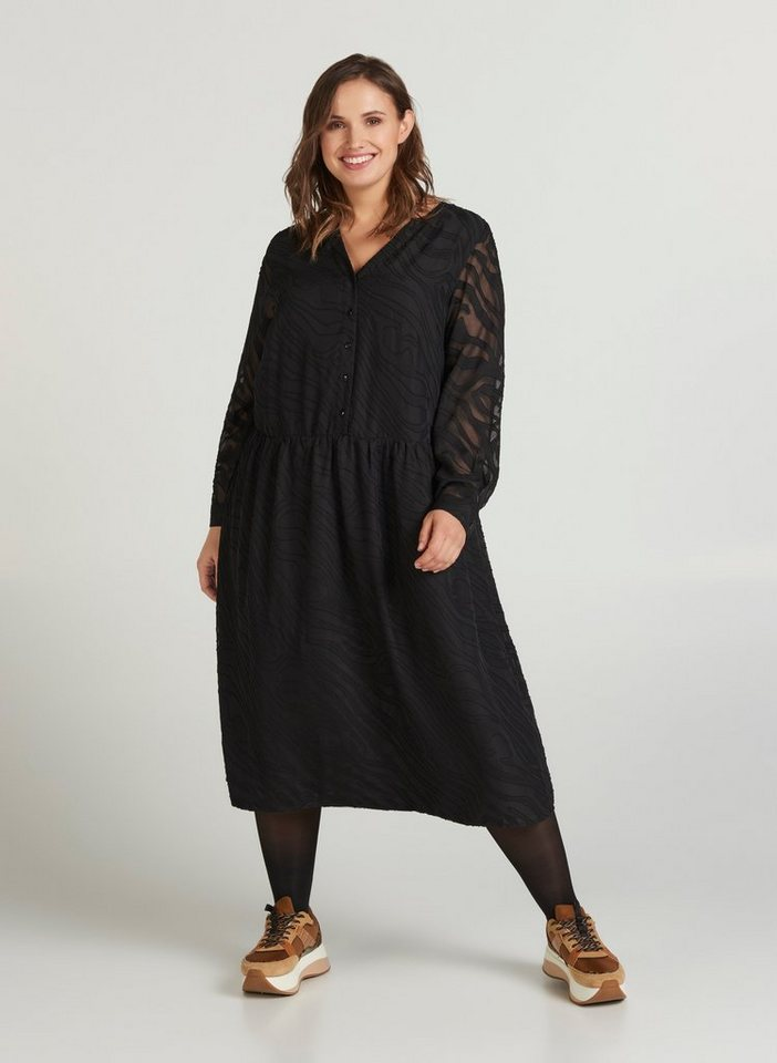 Festtagsmode - Zizzi Abendkleid Große Größen Damen Midikleid mit Knöpfen und V Ausschnitt ›  - Onlineshop OTTO