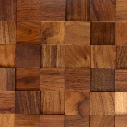 Wodewa 3D Wandpaneel »Nussbaum«, BxL: 5x5 cm, 0,54 qm, (Set, 6-tlg) mit 3D-Effekt, selbstklebend und geölt, braun