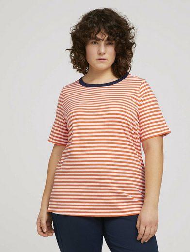 TOM TAILOR MY TRUE ME T-Shirt »Plus - Gestreiftes T-Shirt mit Bio-Baumwolle «