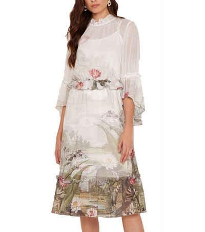 Ted Baker Abendkleid »TED BAKER LONDON Ivory Sommer-Kleid knielanges Damen Abend-Kleid gerafften Details Cocktail-Kleid Weiß«