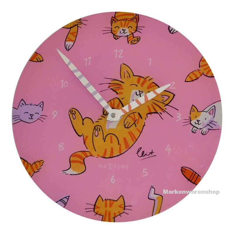 NEXTIME Wanduhr »Wanduhr Kinderzimmeruhr Kinder Uhr Modern Katze Kater Pink 30cm Nextime 8810«