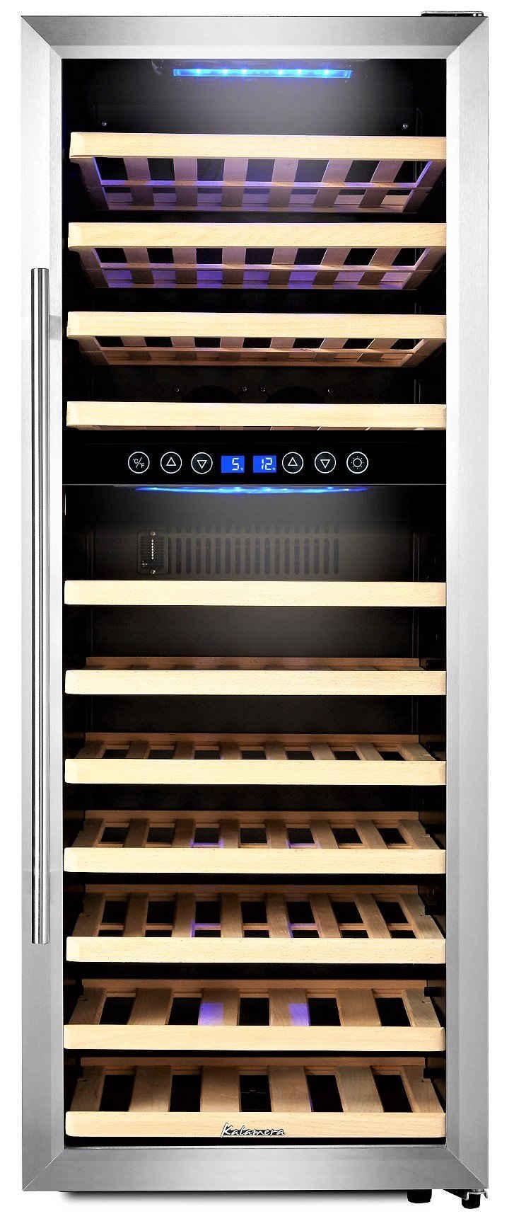 kalamera Weinkühlschrank KRC-73BSS, für 73 Standardflaschen á 0,75l,2 zonen,5-10°C/10-18°C,LED Display, Edelstahl Glastür