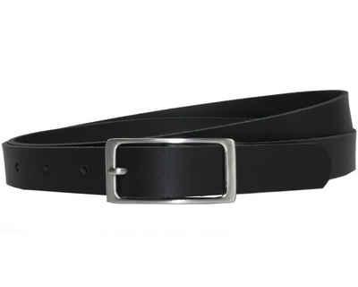 COLOGNEBELT Ledergürtel »A1-SL« Schwarzer Ledergürtel im klassischen Design, mit silberner eckiger Gürtelschnalle