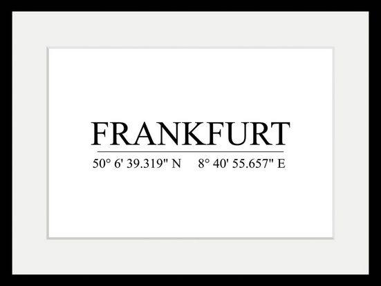 queence Bild »Frankfurt Koordinaten«, mit Rahmen