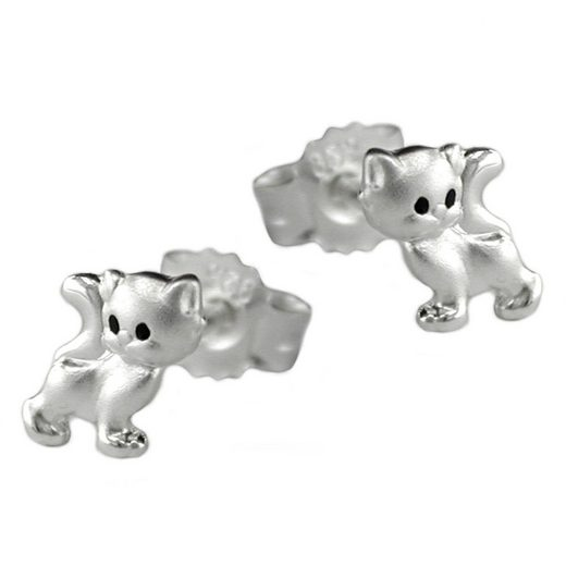 unbespielt Paar Ohrstecker »Ohrstecker Kinderohrringe Katze matt glänzend 925 Silber 6 x 5 mm inklusive Schmuckbox«, Silberschmuck für Kinder