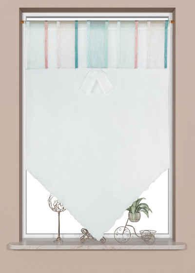 Scheibengardine »Scheibengardine Fensterspitze Küchengardine Bistrogardine 4029 60x90 cm Weiß Rosa Mint«, EXPERIENCE, Stangendurchzug, Store