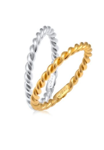 Elli Ring-Set »Ringset 925 Sterling Silber«, Bi Color_Tri Color