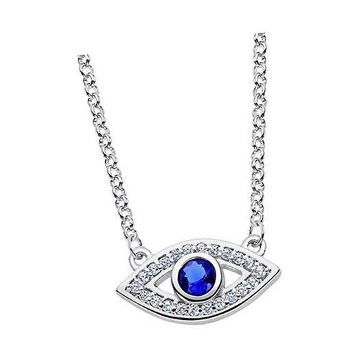LOTUS SILVER Silberkette »JLP1971-1-1 Lotus Silver Auge des Horus Halskette« (Halsketten), Damen Kette Auge des Horus aus 925 Sterling Silber, silber, weiß, blau