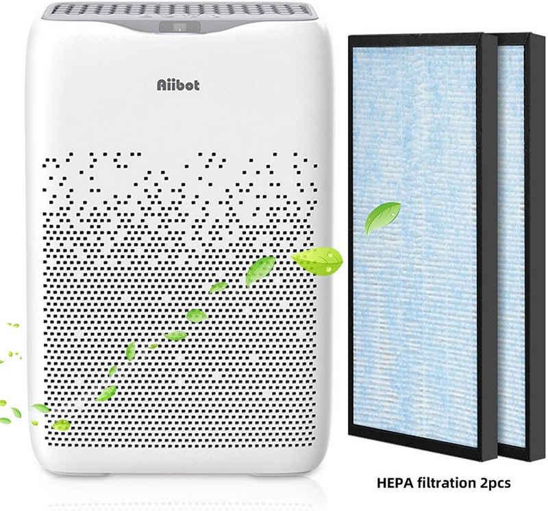 Aiibot Luftreiniger Luftreiniger mit 5 in 1 HEPA Filter,4 Lüfterstufen,Ionisierer,Timer,Leise Luftfilter gegen 99,9% Allergie,Rauch,Staub,Pollen,Tierhaare, für 80 m² Räume, Nachtmodus(unter 29 dB), Timerfunktion, Ionisator Timer, Negative Ionen, 4 Windgeschwindigkeit, Modell:EPI188-B, für 80 m² Räume
