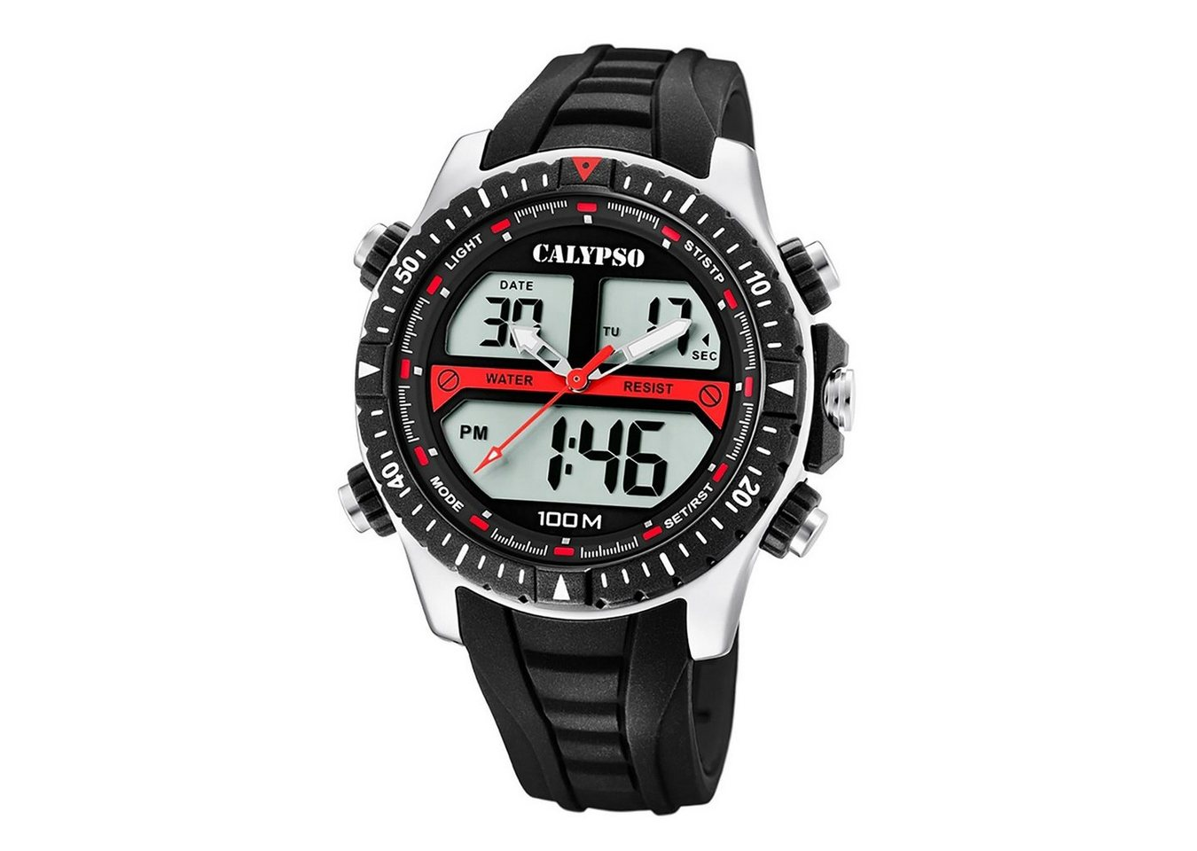 calypso watches -  Digitaluhr »UK5773/4 Calypso Herren Uhr K5773/4«, (Analog-Digital), Herren Armbanduhr rund, Kunststoff, PUarmband schwarz, Sport