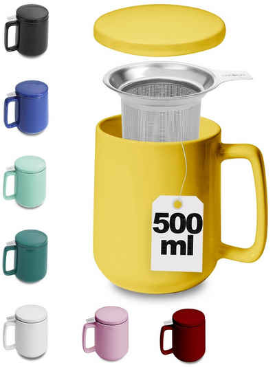 Cosumy Teeglas »Teetasse mit Sieb und Deckel Gelb 500ml«, Keramik, Hält Lange warm - 500ml XXL Groß - Spülmaschinenfest