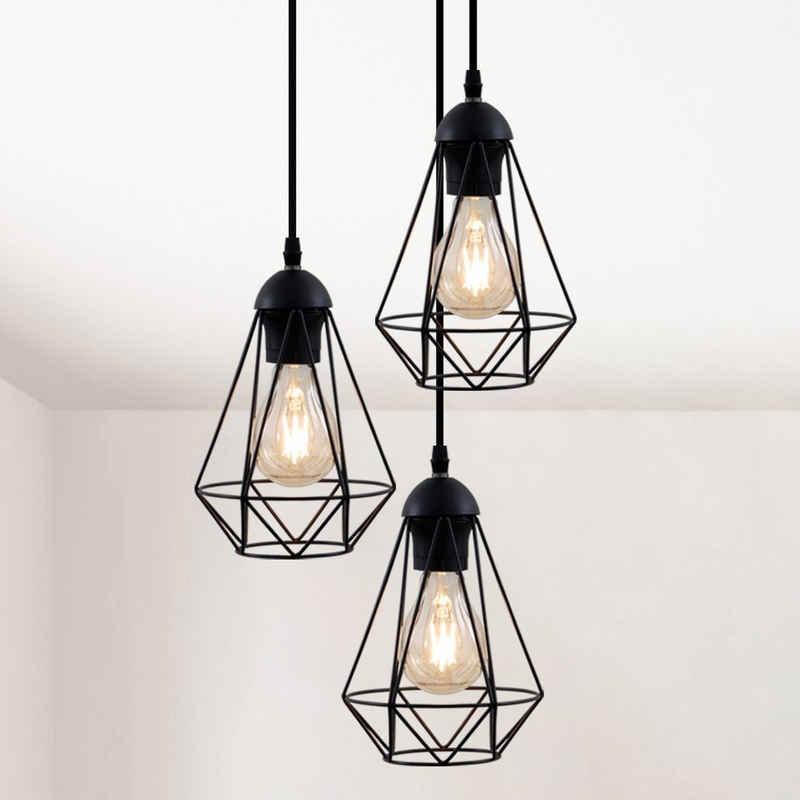 B.K.Licht Pendelleuchte, LED Hängelampe schwarz Metall Draht Vintage Hängeleuchte Retroleuchte E27