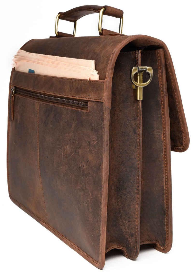 LEABAGS Aktentasche »Oakland«, Aktentasche aus echtem Büffel-Leder im Vintage Look - Muskat