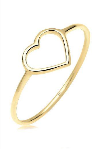 Elli Premium Fingerring »Herz Trendsymbol Filigran 375 Gelbgold«, Herz