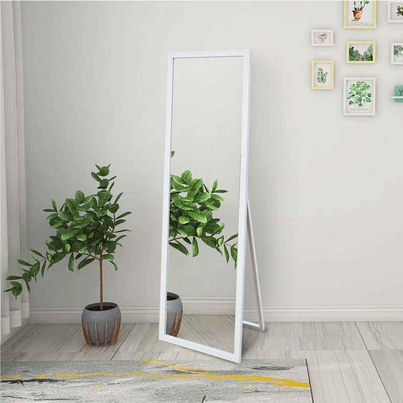 Masbekte Standspiegel »Ganzkörperspiegel«, Holzrahmen Stehspiegel, hochauflösender großer Spiegel mit Klappbarer Ständer und klappbarer Haken, 140x50cm