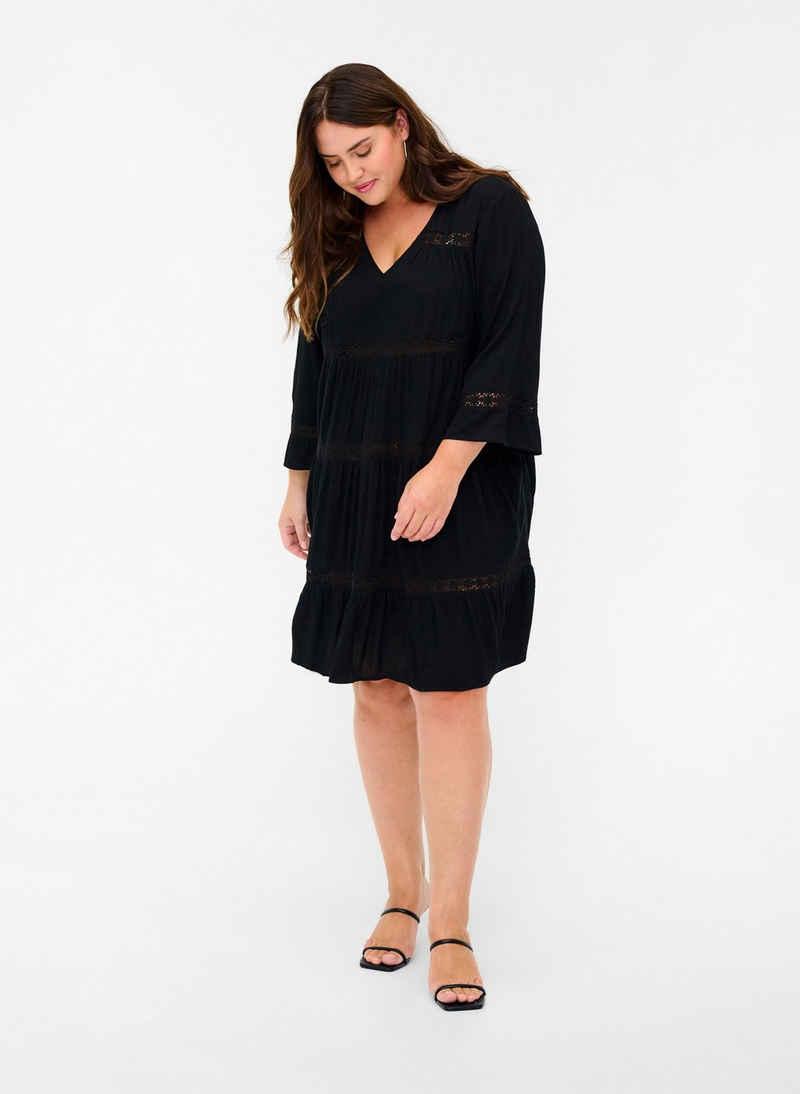 Zizzi A-Linien-Kleid Große Größen Damen Viskosekleid mit Spitze und 3/4-Ärmeln