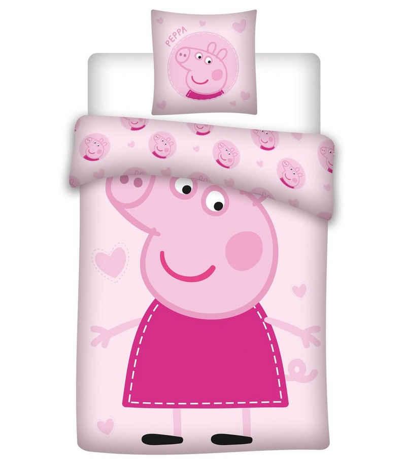 Kinderbettwäsche »Peppa Wutz Pig - PEPPA-Bettwäsche-Set für Mädchen, 135x200 & 80x80 cm«, Peppa Pig, 100% Baumwolle