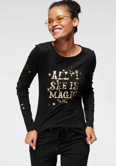 KangaROOS Langarmshirt mit goldschimmernem Sternen-Druck - NEUE KOLLEKTION
