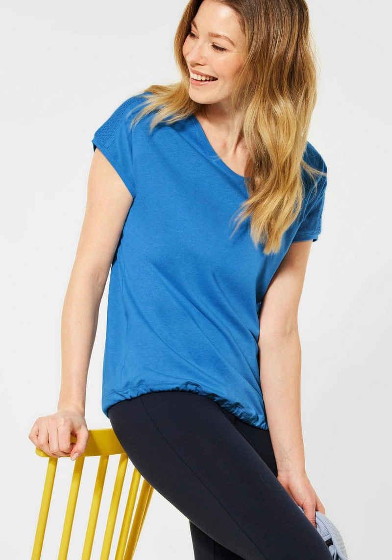 Cecil T-Shirt mit Smok-Details an den Schultern
