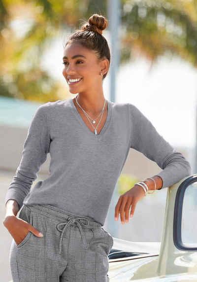 Vivance V-Ausschnitt-Pullover in taillierter Form