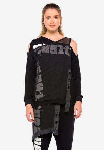 Cipo & Baxx Langarmshirt »Tune Up« mit asymmetrischem Netzgewebe