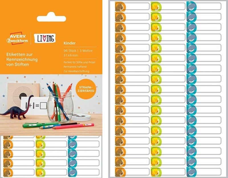 Avery Zweckform Etikettenpapier »96 Bunte Kinder Stift-Etiketten Namens-Aufkleber Sticker Namens-Etiketten Schule«