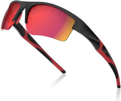 Avoalre Fahrradbrille, (Sonnenbrille Brille Angeln mit Rahmen TR90 Super Light Skibrille Rot), Avoalre Fahrradbrille Sportbrille Winddicht Fahrrad Sonnenbrille Anti UV400 fahradbrille Herren