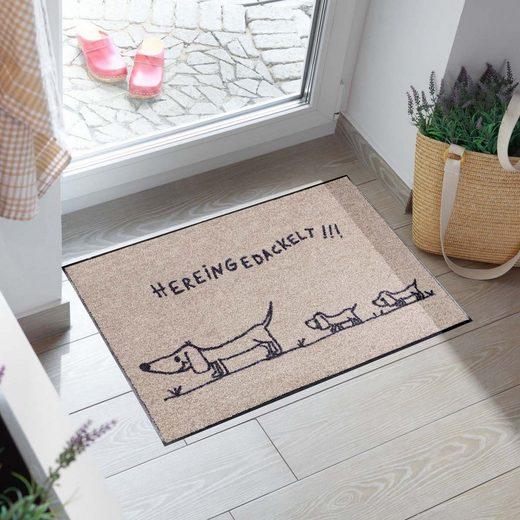Fußmatte »Hereingedackelt«, Salonloewe, rechteckig