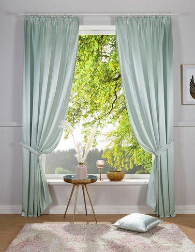 Vorhang »Glanzsatin«, DELAVITA, Kräuselband (1 Stück), Inklusive Raffhalter